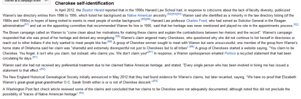 Elizabeth Warren Cherokee Claims